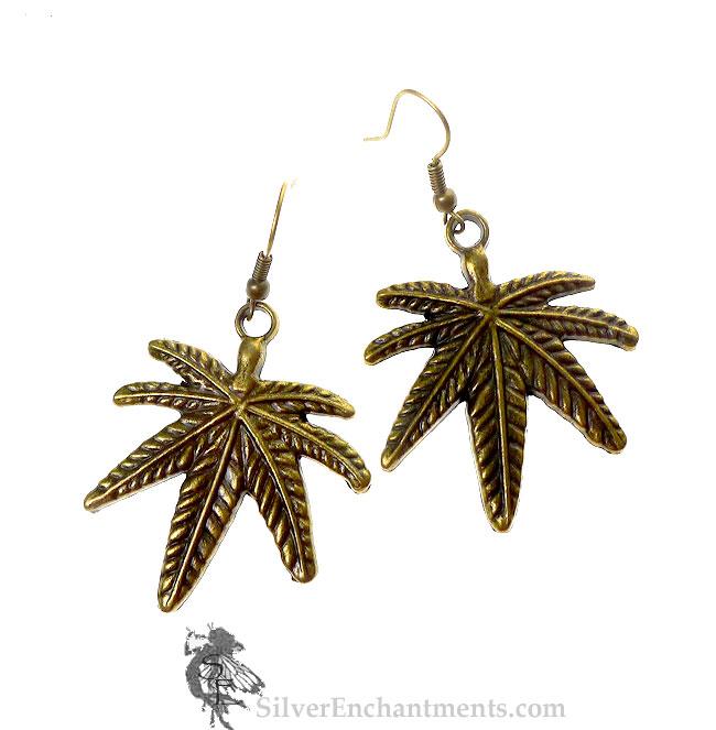 large brass marijuana earrings bronze cannabis pendant