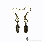 Feather Earrings, Small Double Sided Feather Charm Earrings, Antique Brass