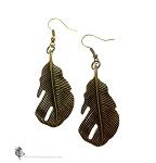 Feather Earrings, Antiqued Brass