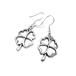 Silver Lucky Four Leaf Clover Earrings, Shamrock Jewelry