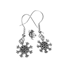 Delicate Snowflake Earrings, Small Snowflake Charm Earrings, Holiday Jewelry
