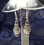 Silver Hand of Buddha Earrings, 3D Buddha Hand Earrings