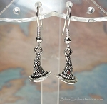 Silver Witch Hat Earrings - Everyday Witchcraft Jewelry