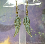 Angel Wing Earrings, Antiqued Brass with Verdigris Patina Angel Wing Earrings
