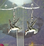 Hummingbird Earrings - Everyday Silver Dangling Hummingbird Charm Jewelry