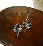 Silver Shamrock Earrings, Dangling Clover Earrings - Everyday Shamrock Jewelry