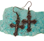 Copper Crucifix Earrings, Catholic Jewelry