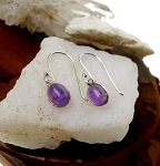 Amethyst Earrings, Sterling Silver Amethyst Solitaire Gemstone Earrings, February Birthstone Earrings, Small Purple Amethyst Dangle Earrings