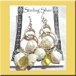 Coin Pearl and Citrine Hammered Dangle Earrings, Sterling Silver Pearl Earrings