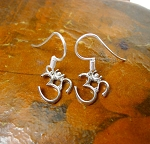 Sterling Silver Small Om Earrings, Yoga and Meditation Earrings, Om Jewelry