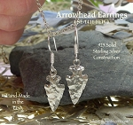 Arrowhead Earrings, 3D Sterling Silver Arrowhead Earrings, Arrowhead Jewelry