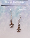 Sterling Silver Fleur-de-Lis Earrings, Small New Orleans Lily Earrings