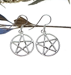 Sterling Silver Classic Interwoven Pentacle Earrings, Pair