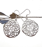 Sterling Silver Large Celtic Lace Pentacle Earrings