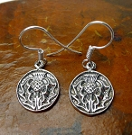 Sterling Silver Thistle Earrings, Sterling Silver Scottish Thistle Earrings