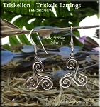 Sterling Silver Celtic Triskelion Earrings | Celtic Spiral Earrings