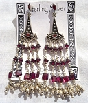 Garnet Chandelier Earrings, Sterling Silver and Garnet Gemstones