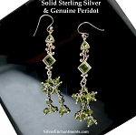 Peridot Earrings, Long Art Deco Earrings