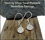 Sterling Silver Pentacle Earrings, Small Pentagram Medllion Earrings