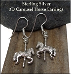 Carousel Horse Earrings, Sterling Silver Horse Earrings