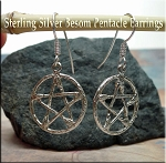 Sterling Silver Pentacle of Brooms Earrings, Witches Broom Earrings, Pagan Earrings