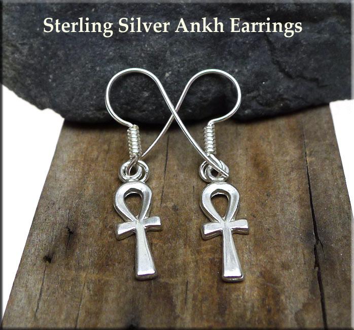 Ankh Earrings Sterling Silver Ankh Earrings Egyptian Jewelry