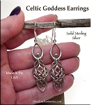 Goddess Earrings, Sterling Silver Celtic Goddess Earrings