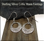 Celtic Moon Earrings, Sterling Silver Moon with Celtic Knotwork Earrings