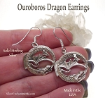 Dragon Earrings, Sterling Silver Ouroboros Dragon Earrings