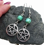 Turquoise Pentacle Earrings - Everyday Spiritual Jewelry