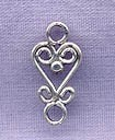 Sterling Silver Filigree Heart Jewelry Finding Connector