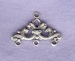 Sterling Silver Fancy Chandelier Earring Finding or Bracelet 3 to 1 Connector Bar