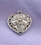 Sterling Silver Victorian Heart Finding, Connector, Chandelier Earring Part