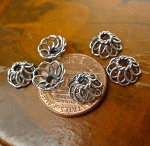 Bead Caps, Sterling Silver 9mm Wire Filigree Beadcaps, 8.5x4.5mm Oxidized Sterling Silver (10)