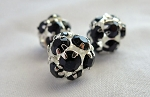 Silver Plated 12mm Crystal Ball Bead, BLACK