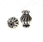 Silver Fancy Bicone Beads, Sterling Silver Bicone Beads, 10.5x8mm Crimped Beads (1)
