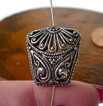 Bali Silver Beads, Sterling Silver Filigree Fancy Pillow Beads, 20x19x11.5mm Filigree Beads (1)