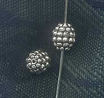 Sterling Silver Dotted Grenade Bead, 9x8x8mm Precious Metal Beads (1)