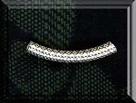 Sterling Silver Fancy Curved Noodle Bead, Tube Bead, 20mm