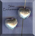 Sterling Silver Heart Bead, 10x10x8mm Puff Heart Bead