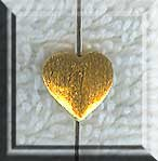 Brushed Vermeil Heart Bead, 8mm
