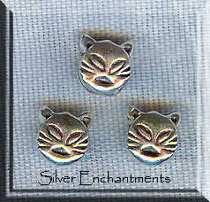 Sterling Silver Cat Beads (2)