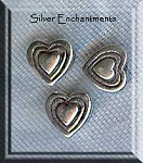 Sterling Silver Heart in Heart Beads, 8mm (2)