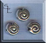 Sterling Silver Shell Beads, 8mm Spiral Coin Beads (2)