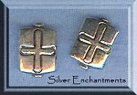 Sterling Silver Cross Beads, Cross Rectangle Bead 12x8mm