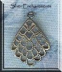 Sterling silver Filigree Scallop Chandelier Earring Parts, PAIR 2-pc