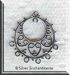 Sterling Silver Ornate Gypsy-Style Chandelier Earring Findings, PAIR 2-pc