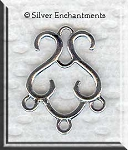 Sterling Silver S Scroll Chandelier Earring Parts, Pair
