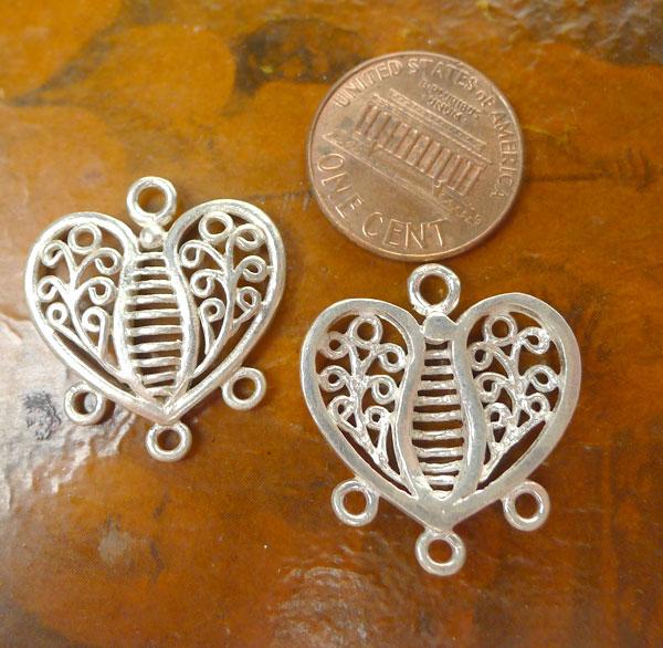 Sterling Slver Scroll Heart Jewelry Findings, Chandelier Earring ...