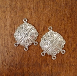 Sterling Silver Fancy Domed Connectors with 3 Loops, Earring Parts or 3-Strand Bracelet Connector Ends, PAIR 2-pc